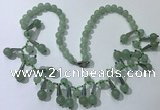 CGN501 21 inches chinese crystal & green aventurine beaded necklaces