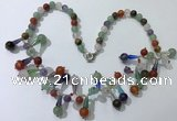CGN506 21 inches chinese crystal & mixed gemstone beaded necklaces