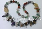 CGN510 23.5 inches chinese crystal & mixed gemstone beaded necklaces