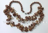 CGN532 19.5 inches chinese crystal & goldstone beaded necklaces