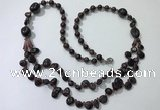 CGN539 27 inches chinese crystal & garnet beaded necklaces
