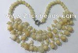 CGN561 19.5 inches stylish 4mm - 12mm yellow jade beaded necklaces