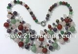 CGN567 19.5 inches stylish 4mm - 12mm mixed gemstone beaded necklaces