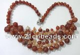 CGN570 19.5 inches stylish 4mm - 12mm striped agate beaded necklaces