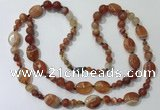 CGN586 23.5 inches striped agate gemstone beaded necklaces