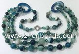 CGN613 24 inches chinese crystal & striped agate beaded necklaces