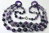 CGN622 24 inches chinese crystal & striped agate beaded necklaces