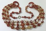 CGN625 24 inches chinese crystal & striped agate beaded necklaces