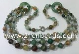 CGN628 24 inches chinese crystal & striped agate beaded necklaces