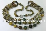 CGN629 24 inches chinese crystal & striped agate beaded necklaces