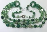 CGN630 24 inches chinese crystal & striped agate beaded necklaces