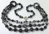 CGN631 24 inches chinese crystal & striped agate beaded necklaces