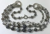 CGN638 24 inches chinese crystal & striped agate beaded necklaces