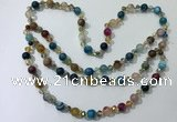 CGN660 22 inches chinese crystal & striped agate beaded necklaces