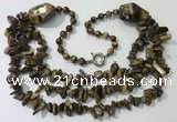 CGN676 22 inches stylish yellow tiger eye beaded necklaces