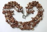 CGN714 22 inches fashion 3 rows goldstone beaded necklaces