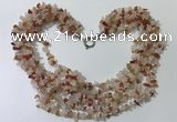 CGN723 19.5 inches stylish 6 rows red agate & rose quartz chips necklaces