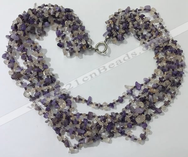 CGN724 19.5 inches stylish 6 rows amethyst & citrine chips necklaces