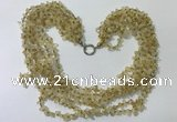 CGN733 19.5 inches stylish 6 rows citrine chips necklaces