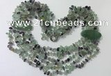 CGN760 20 inches stylish 6 rows fluorite chips necklaces