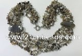 CGN761 20 inches stylish 6 rows Botswana agate chips necklaces