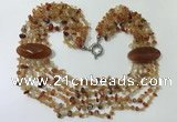 CGN762 20 inches stylish 6 rows red agate chips necklaces