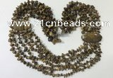 CGN768 20 inches stylish 6 rows yellow tiger eye chips necklaces