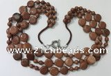 CGN800 23.5 inches stylish 3 rows round & coin goldstone necklaces