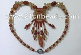 CGN814 19.5 inches chinese crystal & red agate statement necklaces