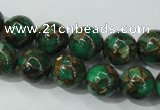 CGO103 15.5 inches 10mm round gold green color stone beads