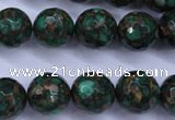 CGO116 15.5 inches 16mm faceted round gold green color stone beads