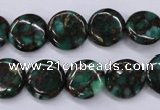 CGO141 15.5 inches 14mm flat round gold green color stone beads