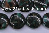 CGO143 15.5 inches 18mm flat round gold green color stone beads