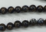 CGO161 15.5 inches 6mm round gold blue color stone beads