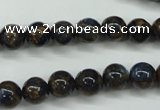 CGO162 15.5 inches 8mm round gold blue color stone beads