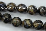 CGO165 15.5 inches 14mm round gold blue color stone beads
