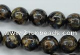 CGO166 15.5 inches 16mm round gold blue color stone beads