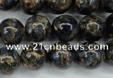 CGO167 15.5 inches 18mm round gold blue color stone beads
