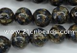 CGO168 15.5 inches 20mm round gold blue color stone beads