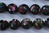 CGO17 15.5 inches 16mm faceted round gold multi-color stone beads