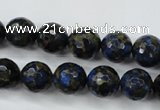 CGO174 15.5 inches 12mm faceted round gold blue color stone beads
