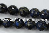 CGO176 15.5 inches 16mm faceted round gold blue color stone beads