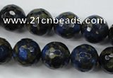 CGO177 15.5 inches 18mm faceted round gold blue color stone beads