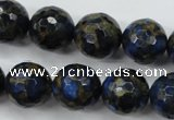 CGO178 15.5 inches 20mm faceted round gold blue color stone beads