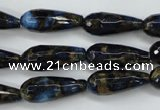 CGO195 15.5 inches 12*40mm faceted teardrop gold blue color stone beads