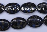 CGO206 15.5 inches 10*14mm oval gold blue color stone beads