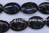 CGO207 15.5 inches 12*16mm oval gold blue color stone beads