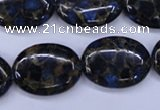 CGO209 15.5 inches 15*20mm oval gold blue color stone beads