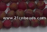 CGO251 15.5 inches 6mm round matte gold multi-color stone beads