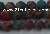 CGO266 15.5 inches 6mm round matte gold multi-color stone beads